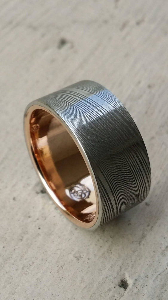 Gold lined & Stainless Damascus steel rose 10mm wide Customizable band