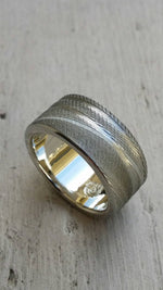 Gold & Stainless Damascus 10mm (Customizable band)