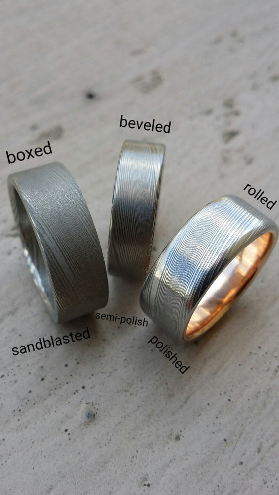 Gold lined & Stainless Damascus steel rose 10mm wide Customizable band mens damascus ring gold lined ring mens wedding ring