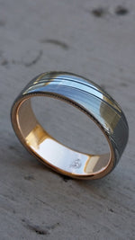"Damascus steel ring 18k rose Gold & Stainless Damascus steel   ""dark wood-grain"" ( customizable) mens rings mens wedding bands"