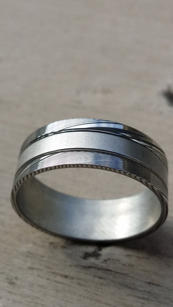 "Stainless steel Damascus ""WOODGRAIN"" 8mm ring!"