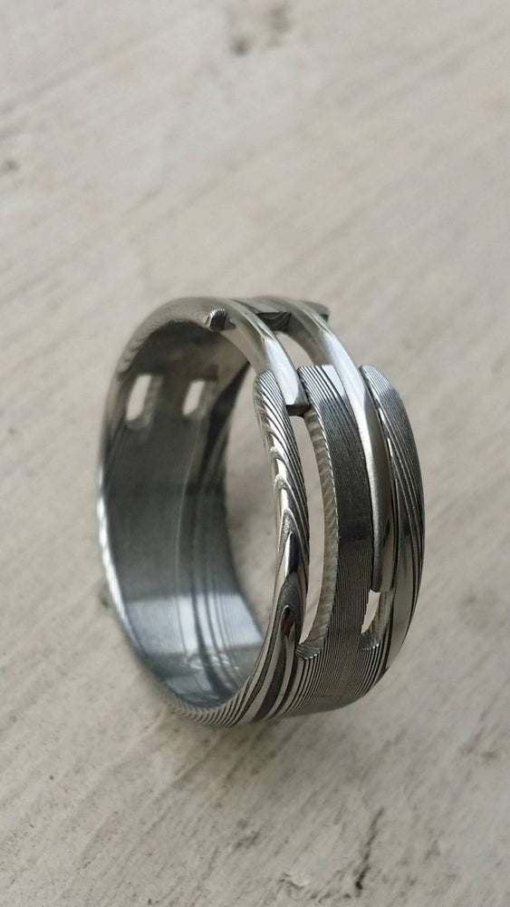 "Stainless steel Damascus ""WOODGRAIN"" ring! Damasteel stainless damascus mens rings wedding band wedding ring"