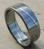 "Stainless steel Damascus polished ""WOODGRAIN""! Dark etch genuine damascus ring woodgrain wedding ring mens rings"