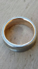 8mm Damascus steel ring 14k yellow Gold & Stainless Damascus