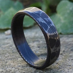 "Stainless steel Damascus "" Blackened-Leopard"" 3mm - 8mm Customizable ring!"
