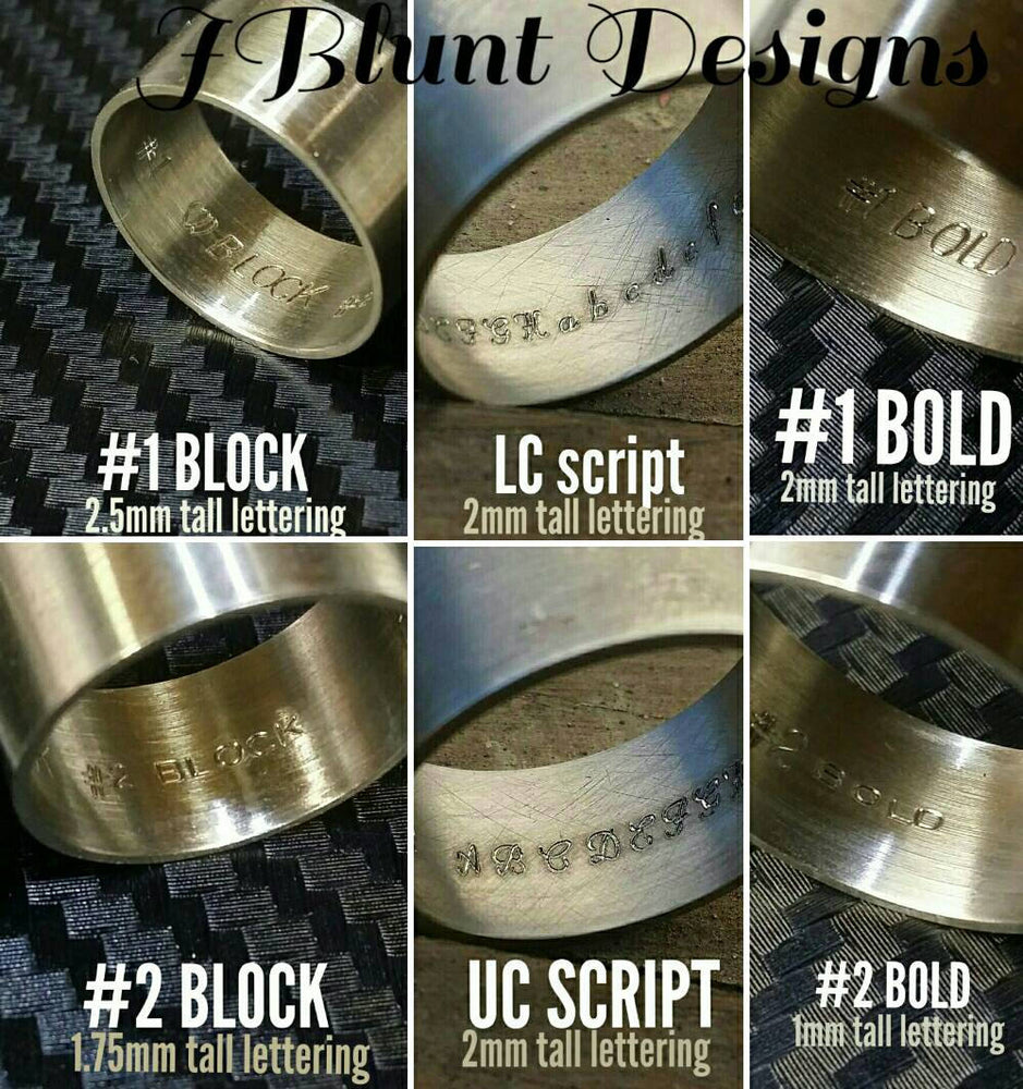 Inside ring engravings ,script, block, greek lettering, inside ring engraving