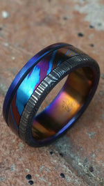 "damascus ring *8mm Hawaiian Titanium lined  Timascus ring Mokuti & *Stainless Damascus* (damasteel) ""wood-grain"" pattern-double heat treated"