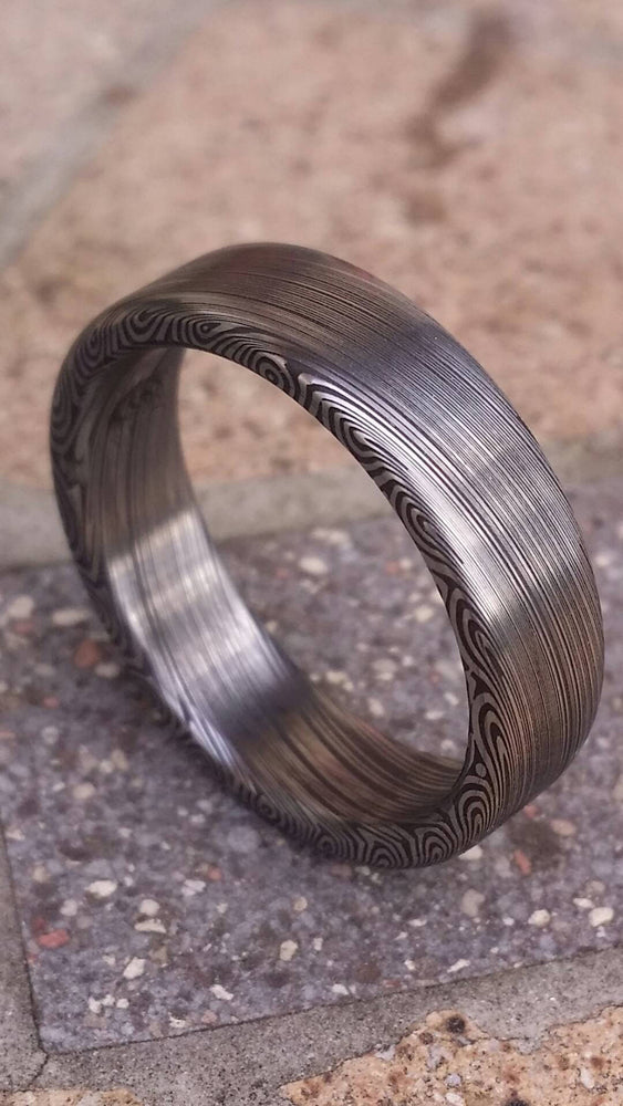"Damascus ring Stainless steel Damascus ""dark leaf"" Customizable ring! Darker color etch. Damascus steel ring"