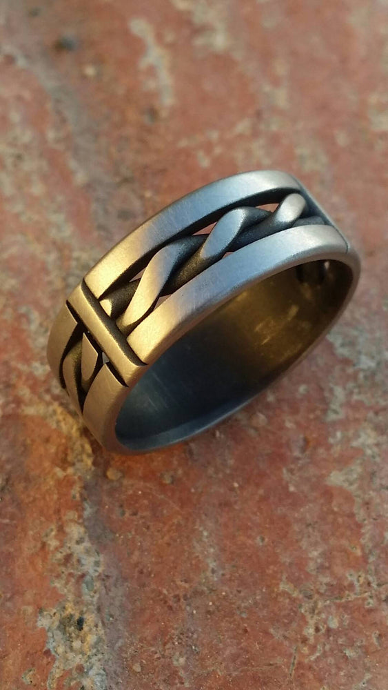 "15.1 ""BREGDAN 2"" patina handmade stainless steel ring (not casted) braided ring celtic twisted rings"