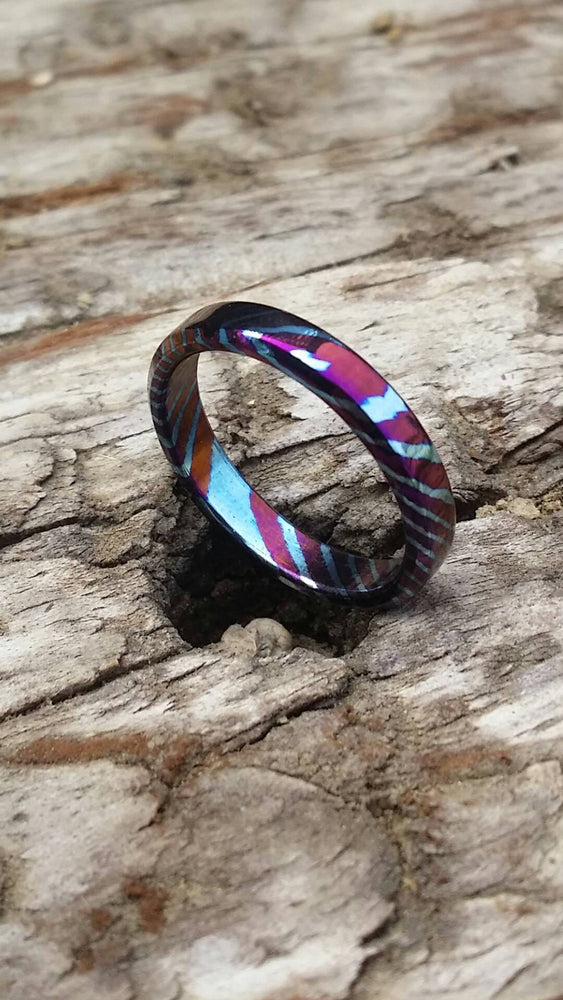 Solid Timascus ring 3mm - 5mm wide timascus ring, mokuti ring