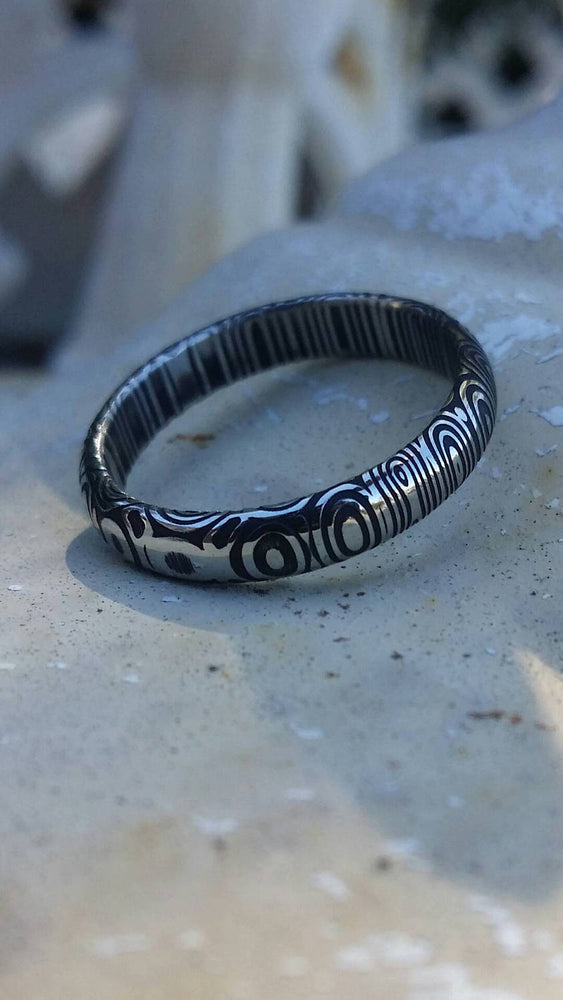 "Stainless Damascus dark finish  ""bamboo"" 3mm or 4mm damscus steel ring, damascus ring womens ring"