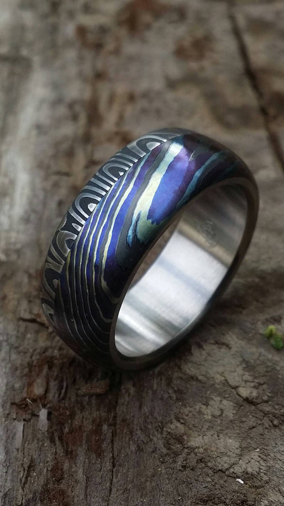 "8mm damascus ring Black / ZrT Mokuti  Stainless Damascus (damasteel) damascus""bamboo"" pattern timascus ring,black timascus ring, mokuti ring"