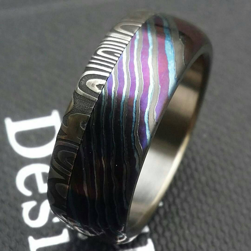 "New*8mm Black Timascus / ZrT Mokuti & Stainless Damascus (damasteel) damascus""bamboo"" pattern timascus ring,black timascus ring, mokuti ring"