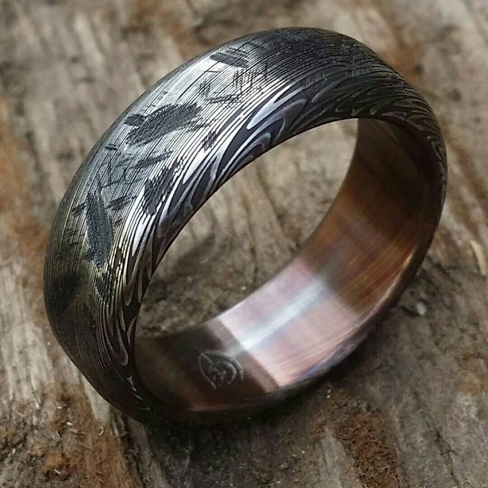 "Damascus ring Stainless steel Damascus ""black & blue PROVIDER"" ring, genuine damascus ring, damascus steel ring, weathered ring"
