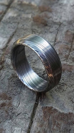 "Square ring Stainless Damascus steel ring square cut ""dark-leaf"", damsacus ring 8mm chamfered ring mens wedding bands"