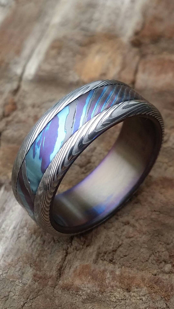 "8mm Black Timascus / Mokuti & stainless (damasteel) damascus steel ring ""wood-grain"" pattern timascus ring,black timascus ring, mokuti ring"