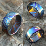 LIMITED EDITION***Solid Black Timascus ring 8mm (semi-polished) timascus ring, mokuti ring, colorful ring, hypoallergenic jewelry, Zirconium