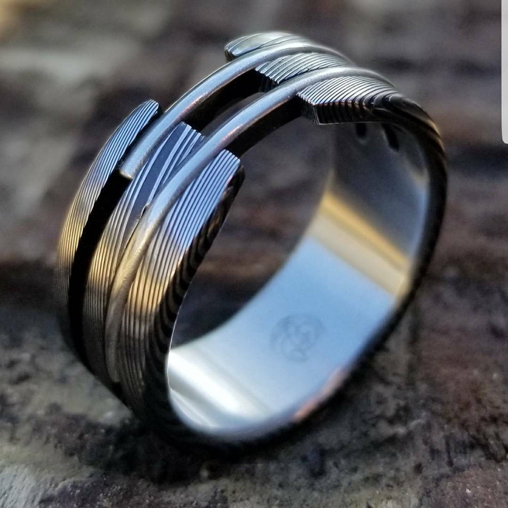 "Stainless steel Damascus ""wood-grain"" ring! Damascus steel ring, damascus ring, damasteel ring, handmade, hypoallergenic"