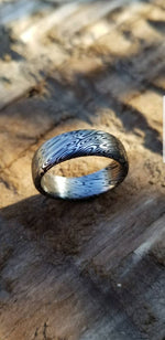 "Damascus steel ring ""dark coral"" Customizable ring! Damascus ring, genuine damascus steel ring, stainless damascus ring"
