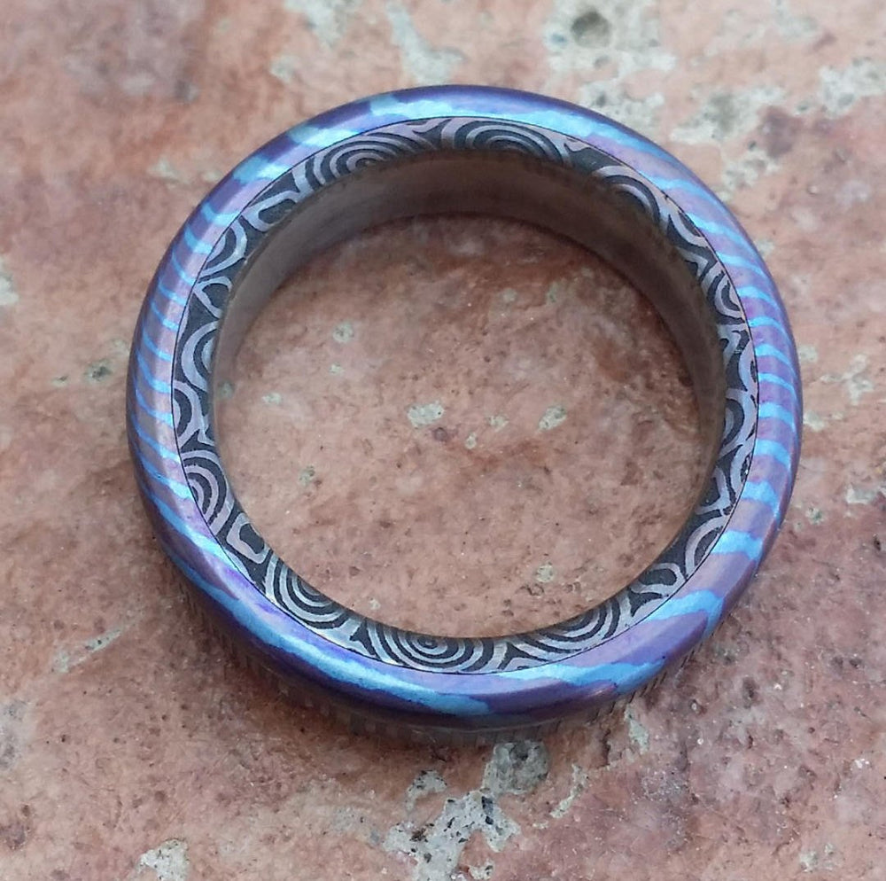 "6mm Black Timascus / zrti & Stainless Damascus (damasteel)"" bamboo"" pattern timascus ring,black timascus ring, mokuti ring, damascus steel"
