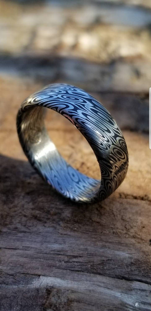 "Damascus steel ring 8mm ""dark coral"" Customizable ring! Damascus ring, genuine damascus steel ring, stainless damascus ring"