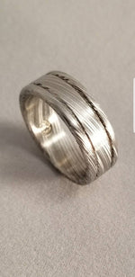 "Damascus steel ring Stainless steel Damascus ""LEAF"" Customizable ring! Natural/ color etch / matching damasteel weddingband"