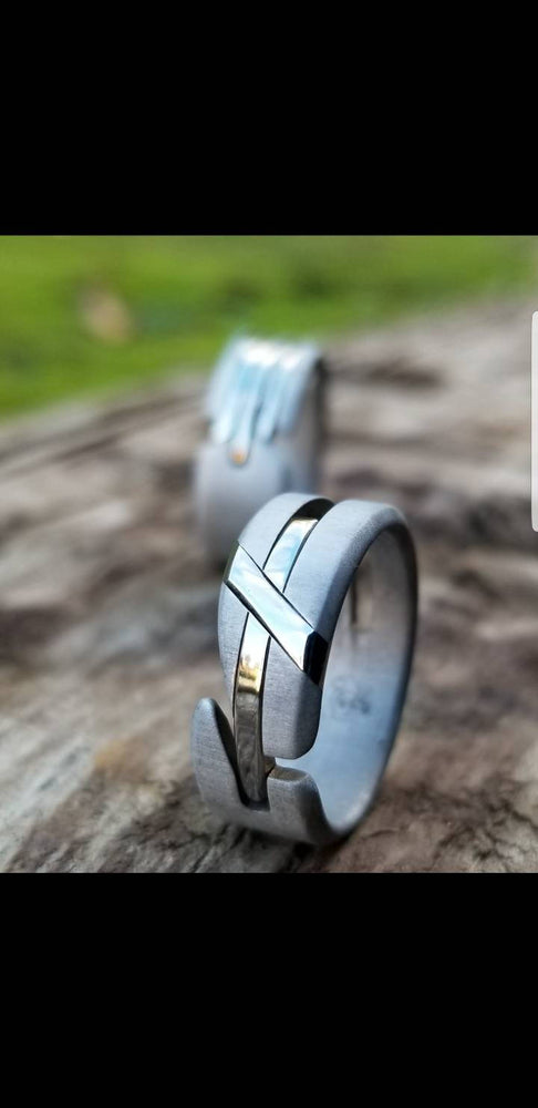 "27 ""LOAM"" handmade stainless steel ring (not casted) hypoallergenic ring, cross ring (satin finish)"
