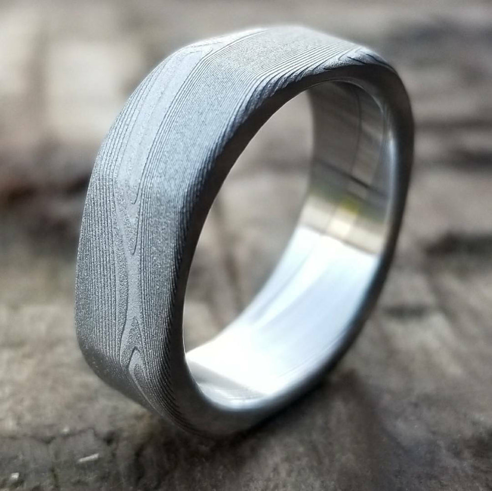 "Square ring Damascus ring 99 ""Square"" handmade stainless steel dmascus ring (not casted) damascus steel ring mens rings"