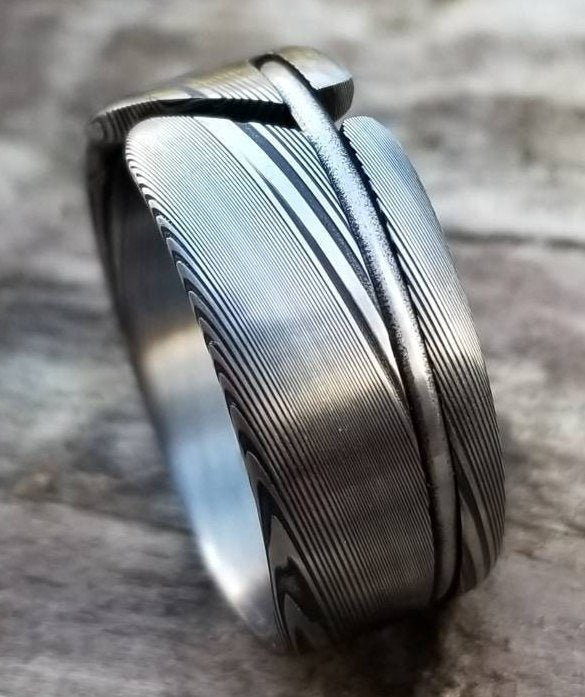 Damascus steel ring-  handmade stainless damasteel ring, mens rings mens wedding bands