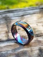 Solid Timascus ring 6mm - 10mm wide timascus ring, mokuti ring chamfered ring