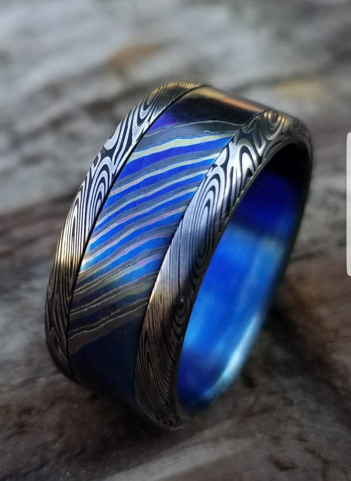 "10mm Black Timascus / Mokuti & Stainless Damascus (damasteel)**Dark ""wood-grain"" pattern timascus ring,black timascus ring, mokuti ring"