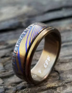 "New*8mm Hawaiian Titanium ring lined  Timascus ring Mokuti & Stainless Damascus steel ring damasteel ""bamboo"" , timascus ring"
