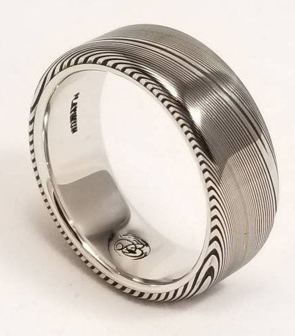 7mm or 8mm Damascus steel ring Platinum & Stainless Damascus damasteel ring dark  woodgrain pattern  (customizable)