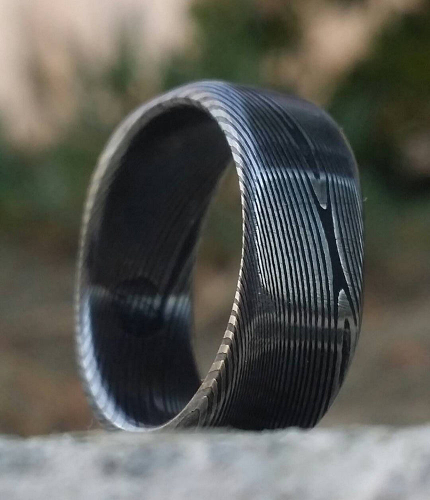 "Square ring Soft-Square Stainless steel Damascus ""WOODGRAIN"" ring! Dark etch"