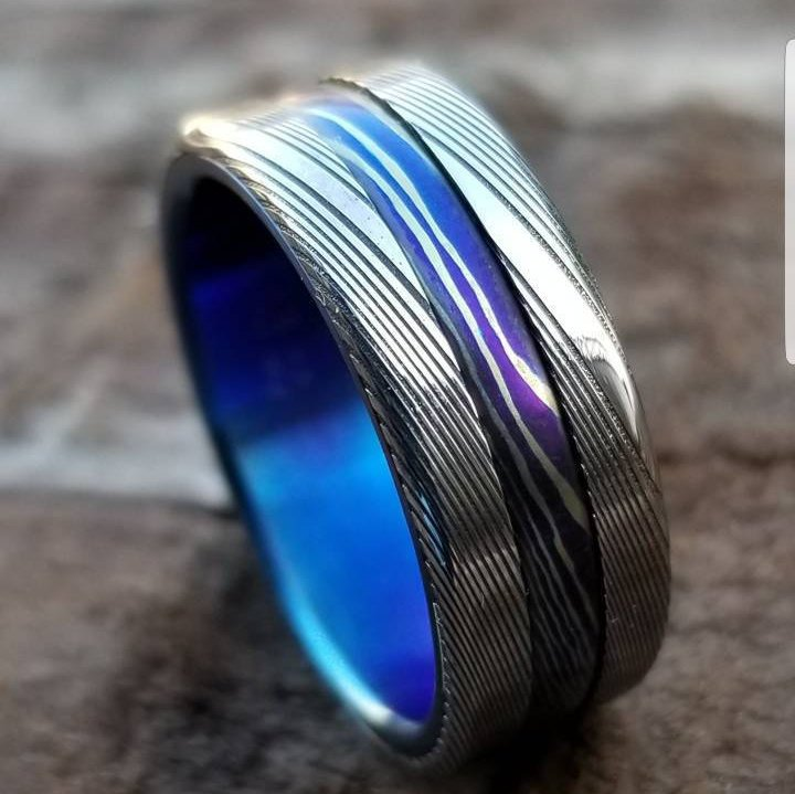 "New*8mm Titanium lined  Timascus / Mokuti & Stainless Damascus (damasteel) ""wood-grain"" damascus steel ring,  damascus ring titanium ring"
