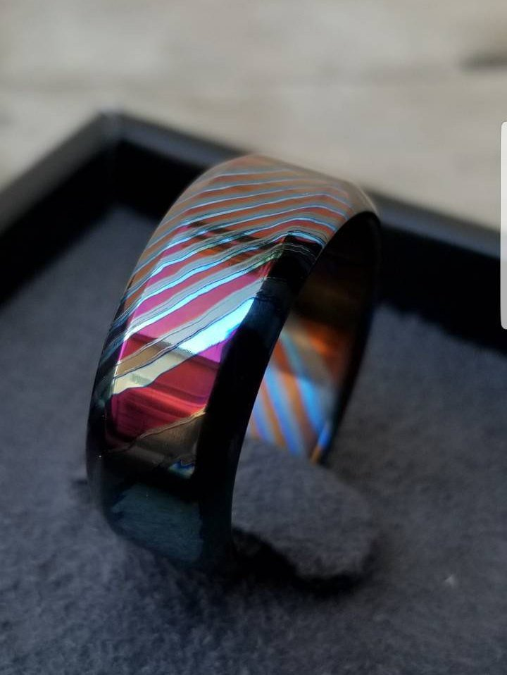 LIMITED EDITION customizable 8mm ring beveled edge Solid Black Timascus ring 3mm-9mm wide timascus ring, mokuti ring (polished finish)