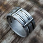 "30 ""TRESTLE"" handmade stainless steel ring (not casted) mens rings, hypoallergenic ring"