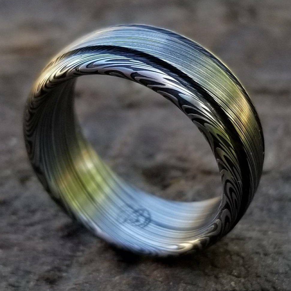 "Damascus steel ring Stainless steel Damascus ""LEAF"" Customizable ring! Dark etch / double grooved damasteel mens weddingbands mens rings"