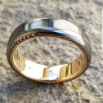 "Gold & Stainless Damascus  7mm ring ""wood-grain"" extra polished finish stainless damscus steel gold ring 14k 18k mens wedding ring"