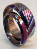 LIMITED EDITION** beveled edge Solid Black Timascus zrti ring set 2 rings 3mm-9mm wide timascus ring, mokuti ring  black timascus ring