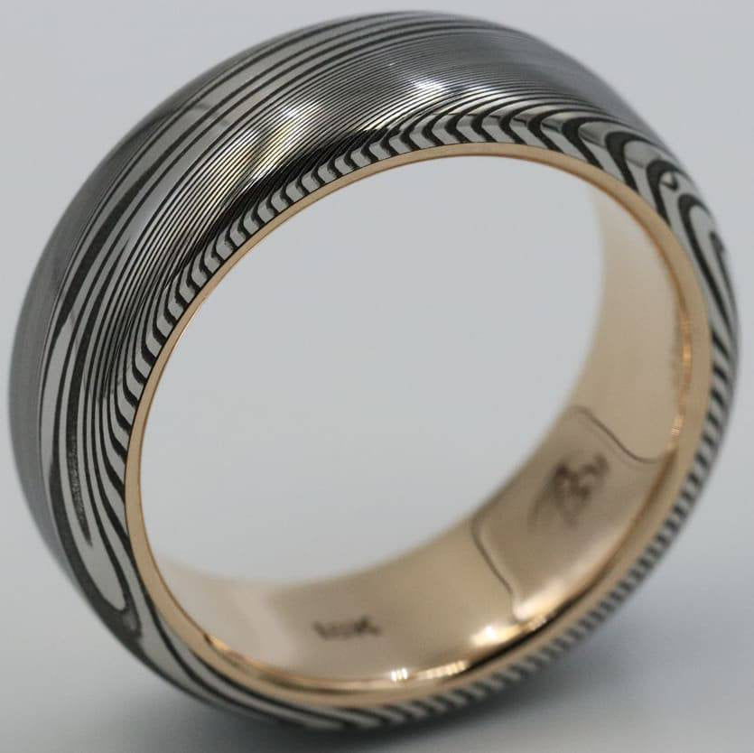 "LIMITED EDITION 7.5mm Damascus ring 18k rose Gold & Stainless Damascus steel   ""dark super wood-grain"" ( customizable)"