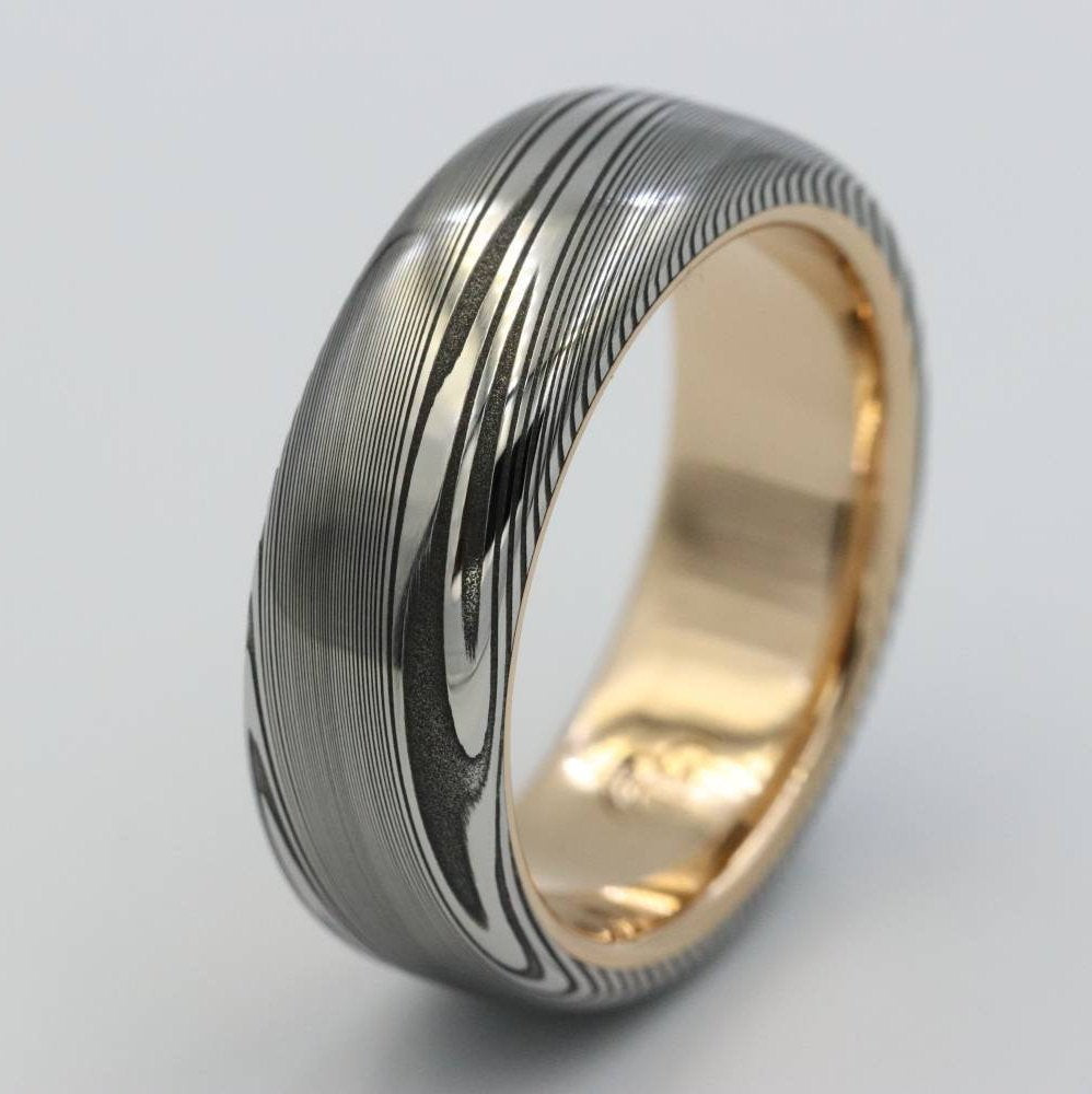 LIMITED EDITION 7.5mm Damascus ring 18k rose Gold   Stainless Damascus –  JBlunt Designs 73a179d2b