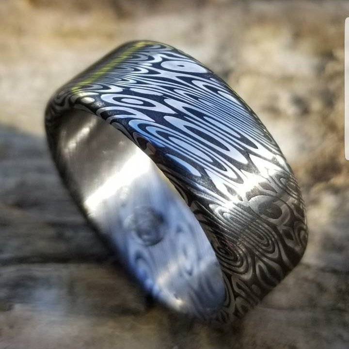 "Damascus steel ring (deep etch) ""dark coral"" 8mm Customizable ring! Damascus steel ring, damascus ring, genuine damascus mens rings"