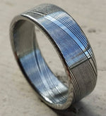 "Damascus steel ring polished ""WOODGRAIN""! Dark etch damasteel mens rings mens wedding rings mens rings"