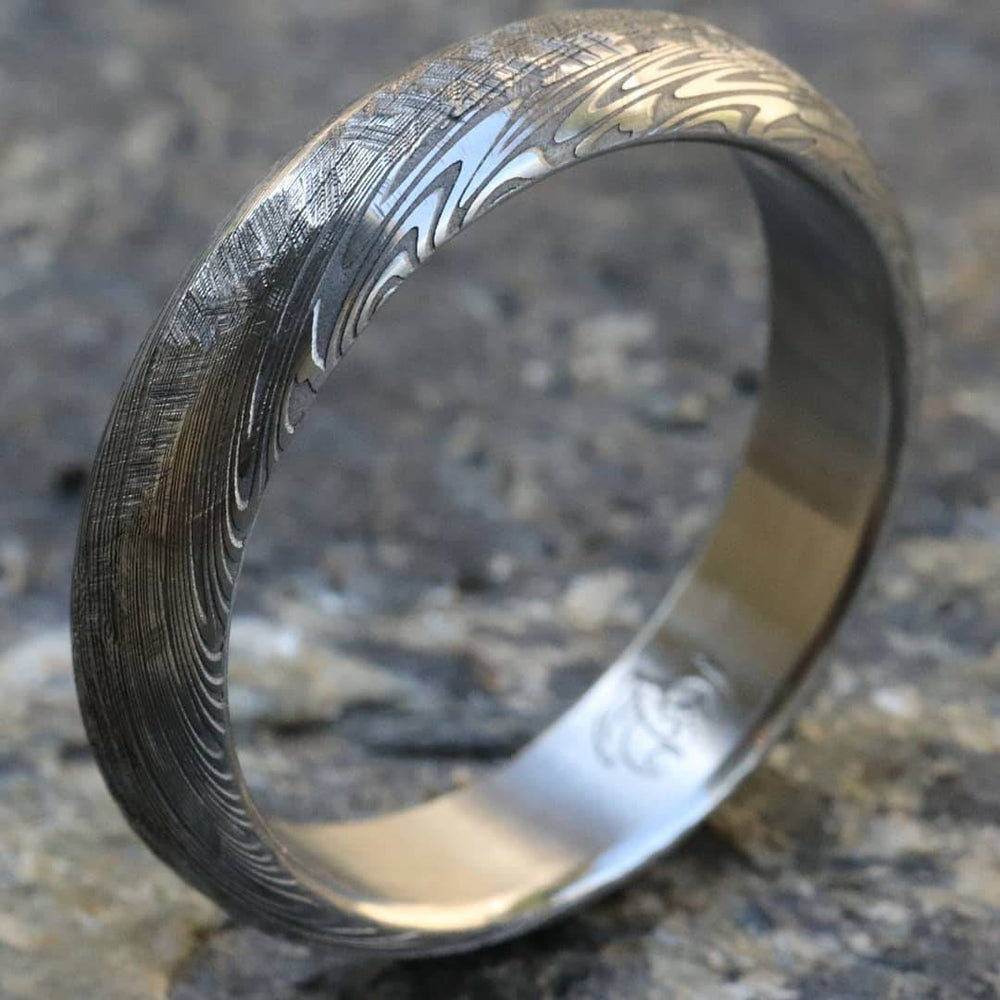 "Damascus ring Stainless steel Damascus 5mm ""PROVIDER"" ring"