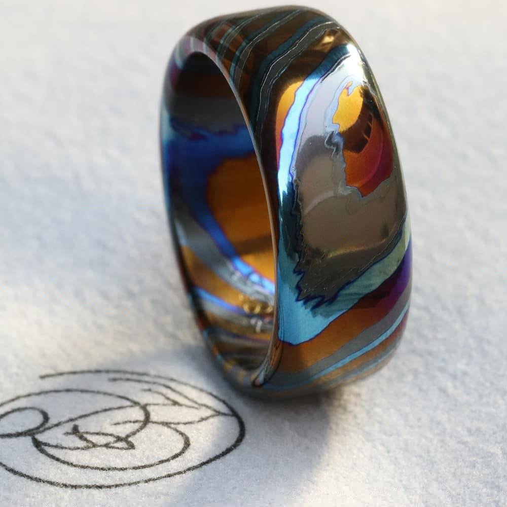 LIMITED EDITION***Solid Black Timascus zrti ring 3mm - 9mm wide timascus ring, mokuti ring (polished finish) black timascus ring
