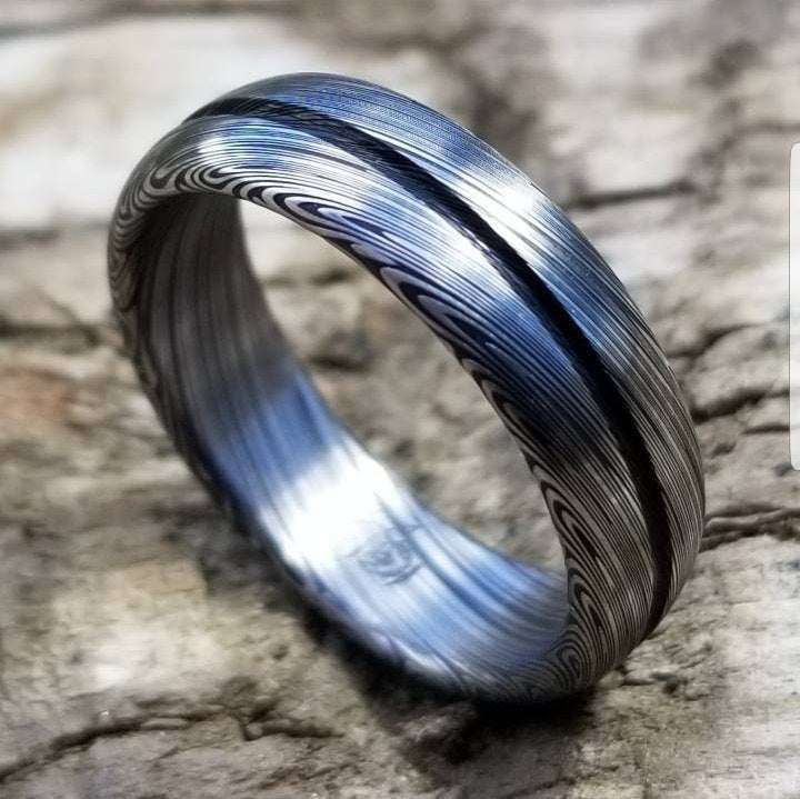 "Damascus steel ring Stainless steel Damascus ""LEAF"" Customizable ring! Dark etch / single grooved damasteel weddingband mens rings"