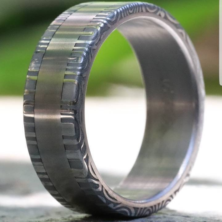 Titanium ring Stainless Damascus steel rings damasteel ring 8mm ring damasteel ring handmade mens ring wedding bands