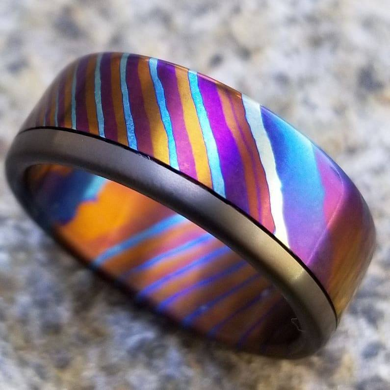 New*8mm ring Timascus / Mokuti & Zirconium  timascus ring,black timascus ring, mokuti ring, zirconium ring, mens wedding bands mems rings