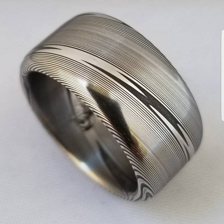 "Customizable 5mm-12mm Stainless steel Damascus ""super wood-grain"" dark etch, damascus steel ring,  damascus ring"